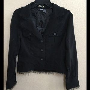 Jackets & Blazers - Black Fringed Blazer